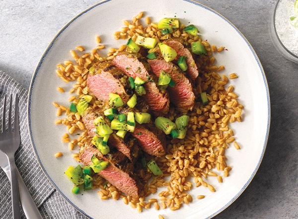 Marinated Steaks with Kiwi Relish over Farro